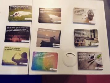 Neobooks-Postkarten mit Zitaten unserer Autoren